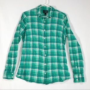 J Crew Crinkle Green Plaid Perfect Shirt Button Up